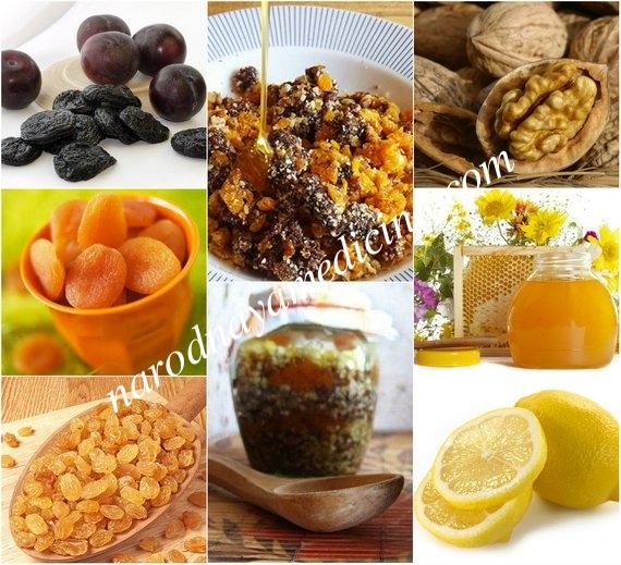Питательная смесь - чернослив, курага, изюм, грецкие орехи, мед, лимон.