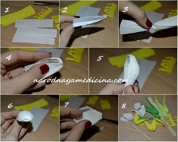 крокусы из гофрированной бумаги своими руками