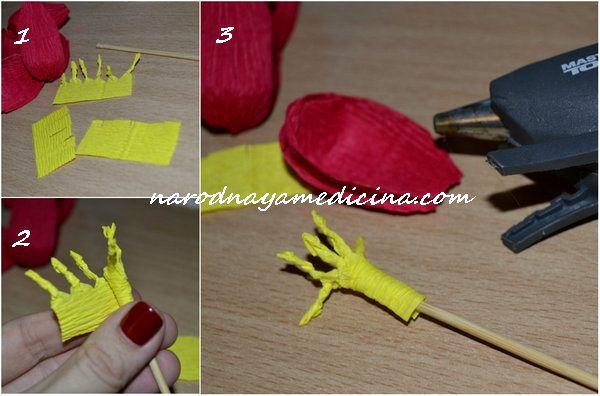 как сделать крокусы из гофрированной бумаги