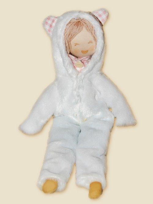 Игрушка мальчик в меховом комбинезоне