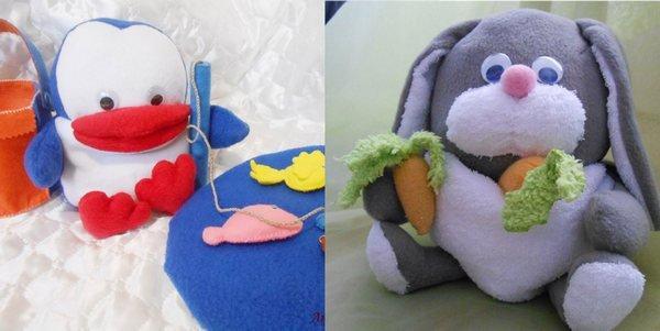 игрушка своими руками заяц и пингвин