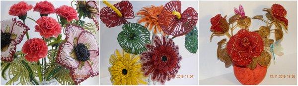цветы из проволоки и бисера