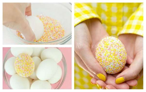 Как украсить яйца кондитерской посыпкой
