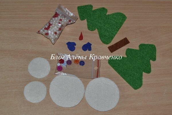 Елочная игрушка из фетра - елочка, снеговик