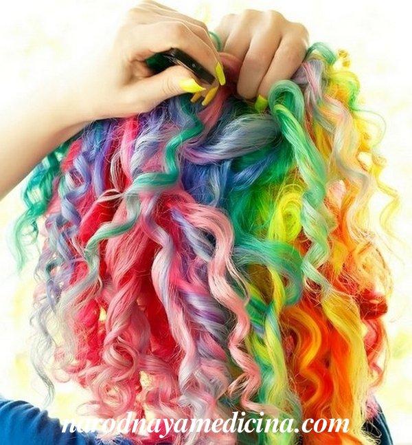 Окрашивание волос радуга