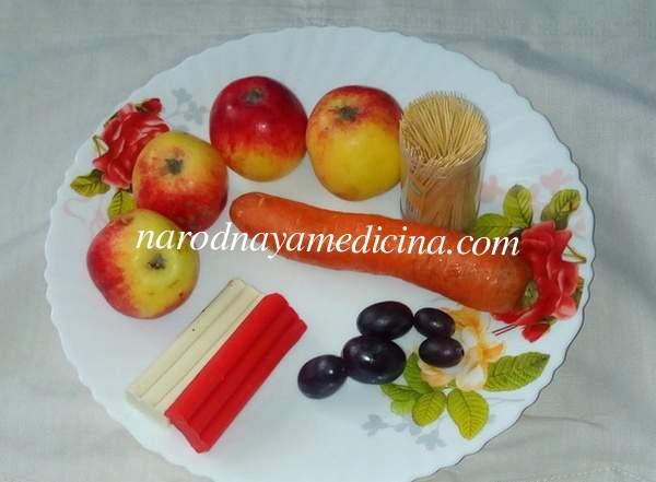 Поделки из овощей и фруктов гусеница