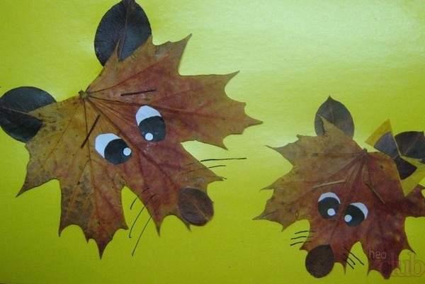 Волк из осенних листьев аппликация