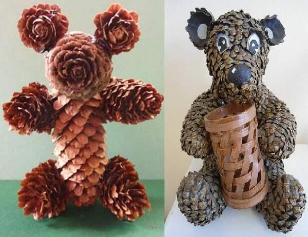 Медведи из шишек