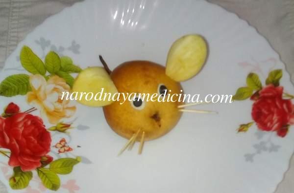 Поделка на тему осень из фруктов мышка