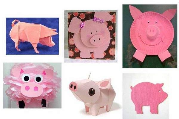 Свинка из картона