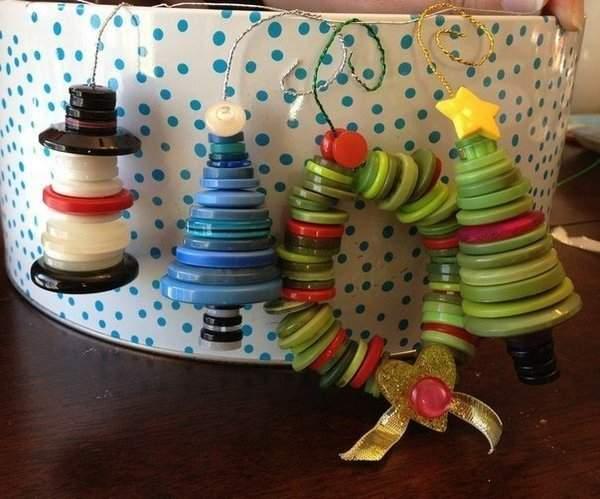 Елка из пуговиц игрушка на елку на Новый 2019 год