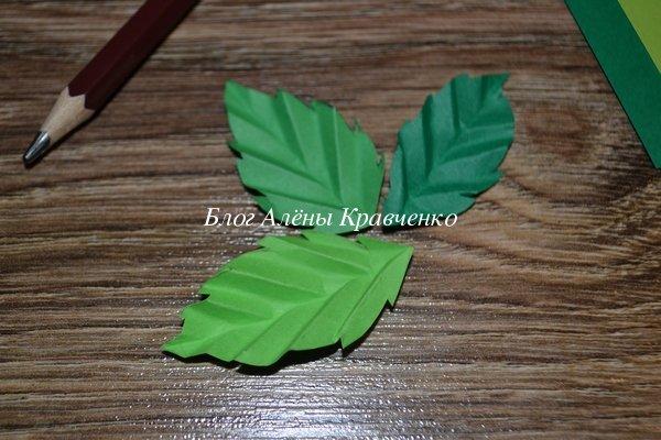 Листочки из бумаги для розы