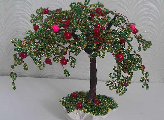 Бисерное дерево »Яблоня». Мастер-класс Ольги Андреевой