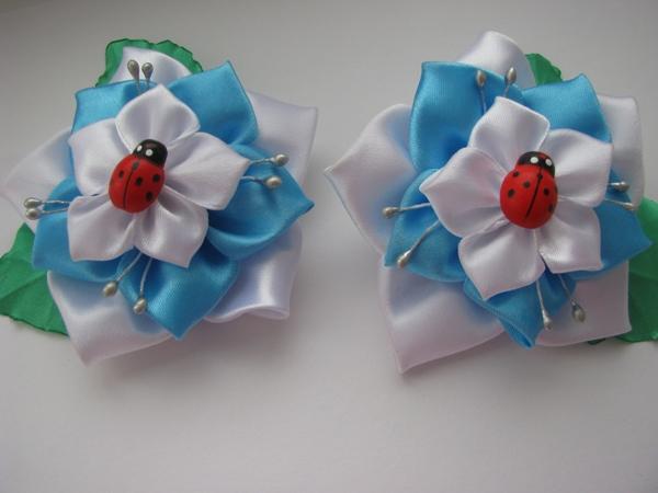 Канзаши. Резинки для волос с цветами. Мастер-класс с пошаговыми фото от Елены Курбатовой